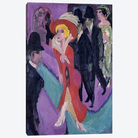 Street Hooker in Red Canvas Print #15057} by Ernst Ludwig Kirchner Canvas Wall Art