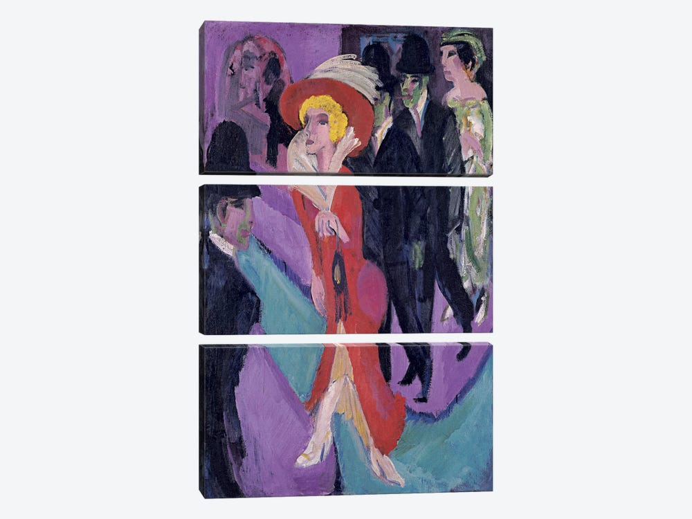 Street Hooker in Red by Ernst Ludwig Kirchner 3-piece Canvas Wall Art