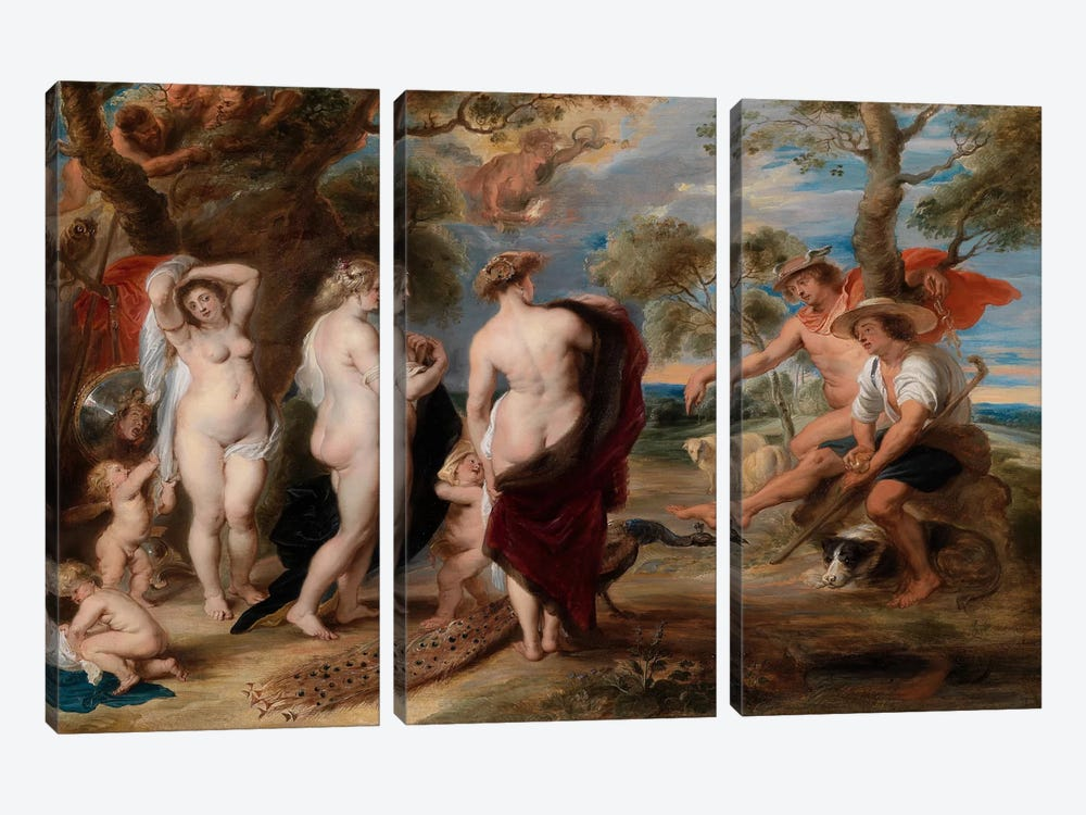 The Judgment of Paris by Peter Paul Rubens 3-piece Canvas Art Print