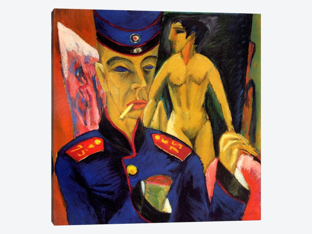 Self Portrait as a Soldier by Ernst Ludwig Kirchner 1-piece Canvas Artwork