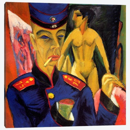 Self Portrait as a Soldier Canvas Print #15060} by Ernst Ludwig Kirchner Canvas Artwork