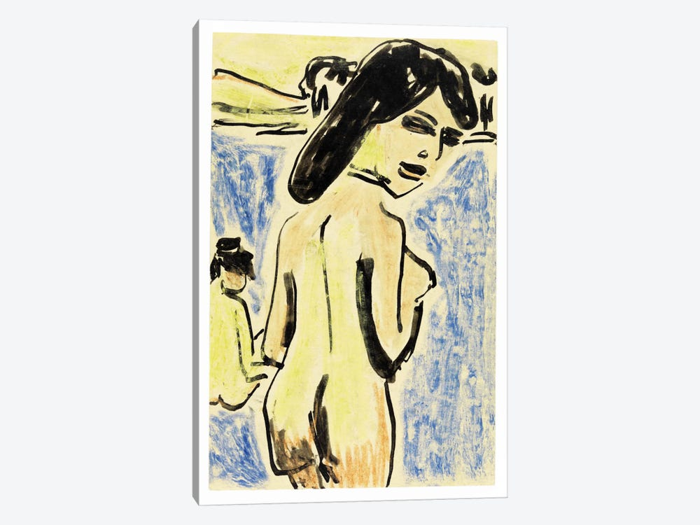 Bathers at the Moritzburg Lakes (1909) by Ernst Ludwig Kirchner 1-piece Canvas Print