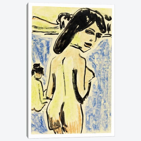 Bathers at the Moritzburg Lakes (1909) Canvas Print #15061} by Ernst Ludwig Kirchner Canvas Artwork