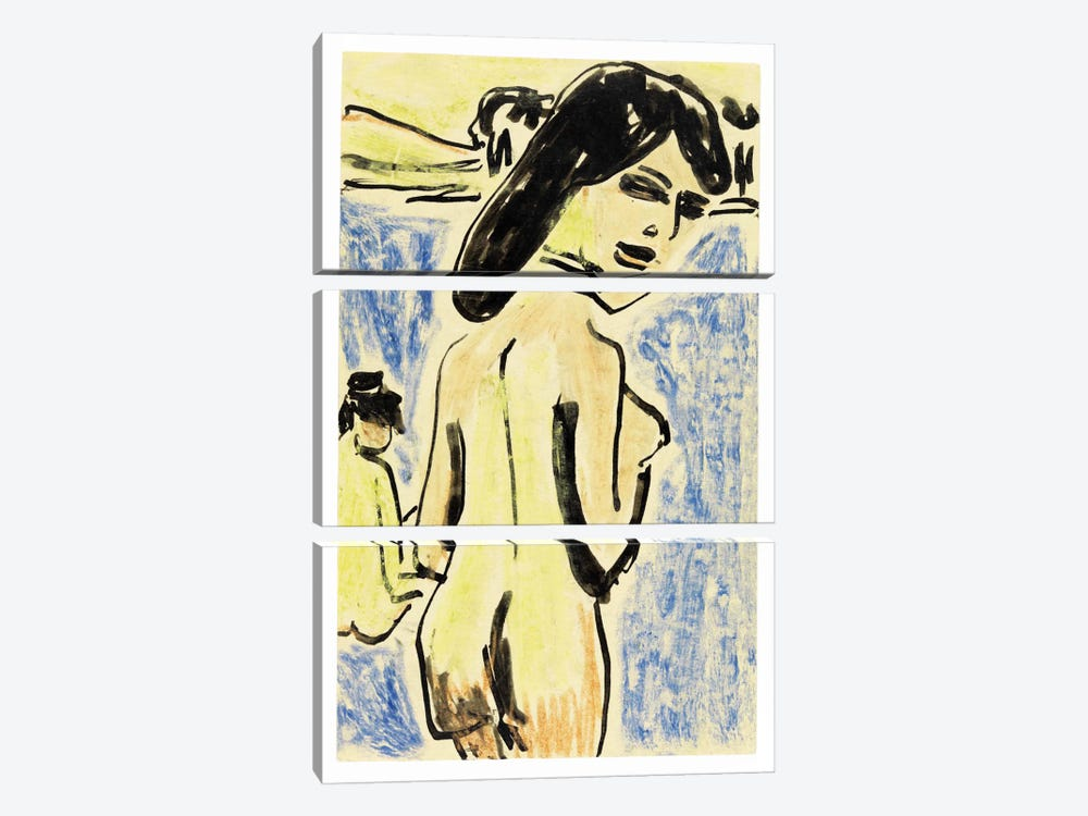 Bathers at the Moritzburg Lakes (1909) by Ernst Ludwig Kirchner 3-piece Canvas Art Print