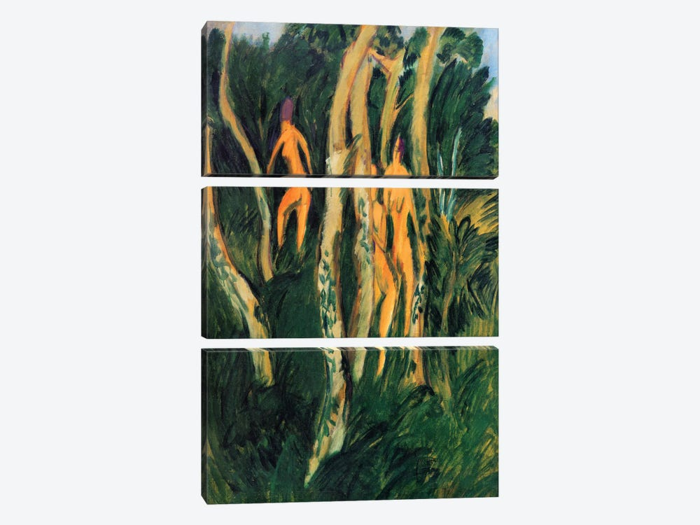 Naked in the Woods on the Beach (1913) by Ernst Ludwig Kirchner 3-piece Canvas Wall Art