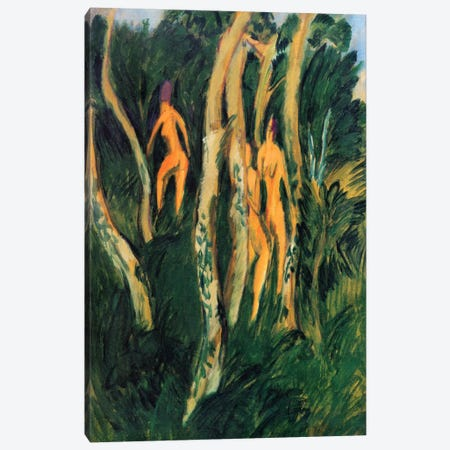 Naked in the Woods on the Beach (1913) Canvas Print #15064} by Ernst Ludwig Kirchner Canvas Art Print