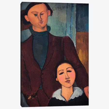 Portrait of Jaques and Bethe Lipchitz Canvas Print #1506} by Amedeo Modigliani Canvas Artwork