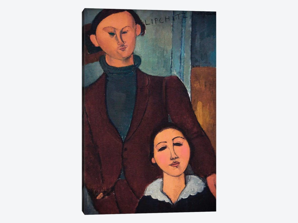 Portrait of Jaques and Bethe Lipchitz by Amedeo Modigliani 1-piece Canvas Artwork