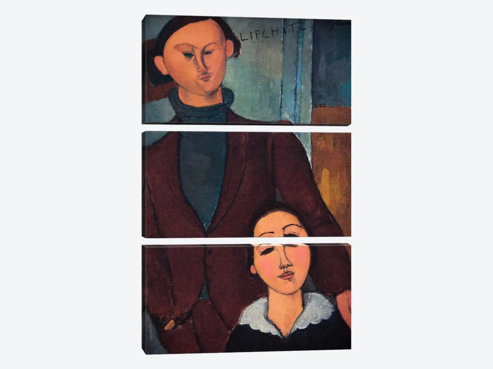 Portrait of Jaques and Bethe Lipchitz by Amedeo Modigliani 3-piece Canvas Wall Art