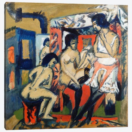 Nudes in a Studio Canvas Print #15070} by Ernst Ludwig Kirchner Art Print
