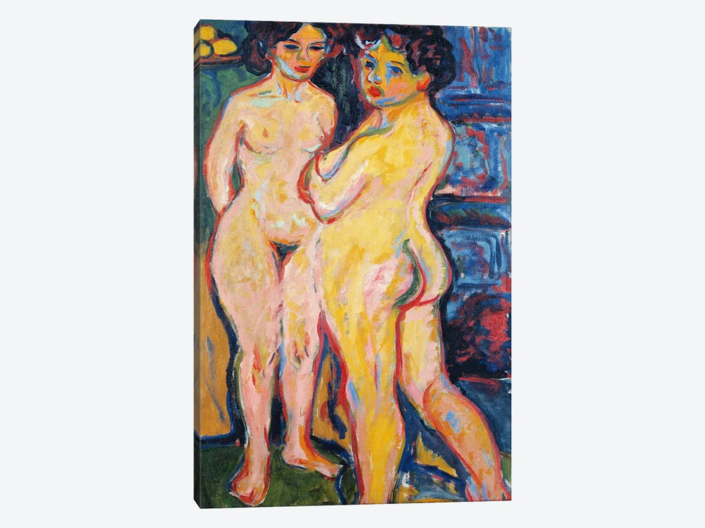 Nudes Standing by a Stove by Ernst Ludwig Kirchner 1-piece Canvas Art