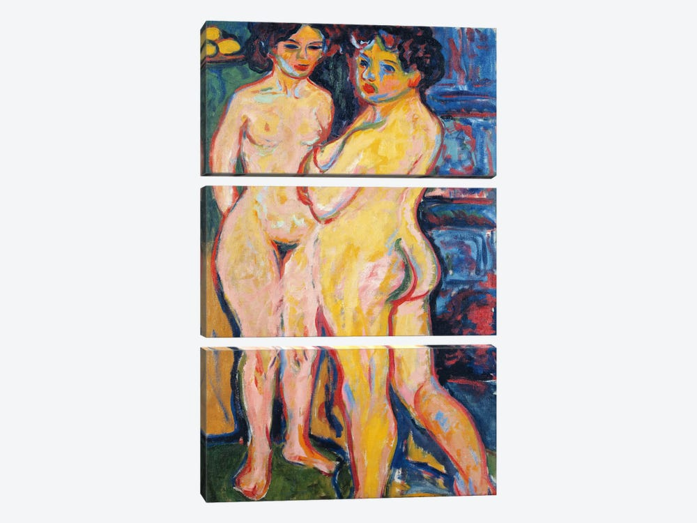 Nudes Standing by a Stove by Ernst Ludwig Kirchner 3-piece Canvas Art