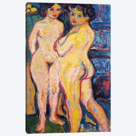 Nudes Standing by a Stove Canvas Print #15071} by Ernst Ludwig Kirchner Canvas Print