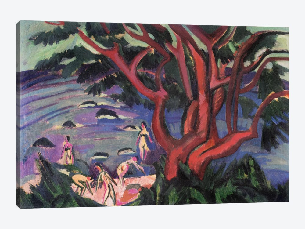 Red Tree on the Brach by Ernst Ludwig Kirchner 1-piece Canvas Artwork