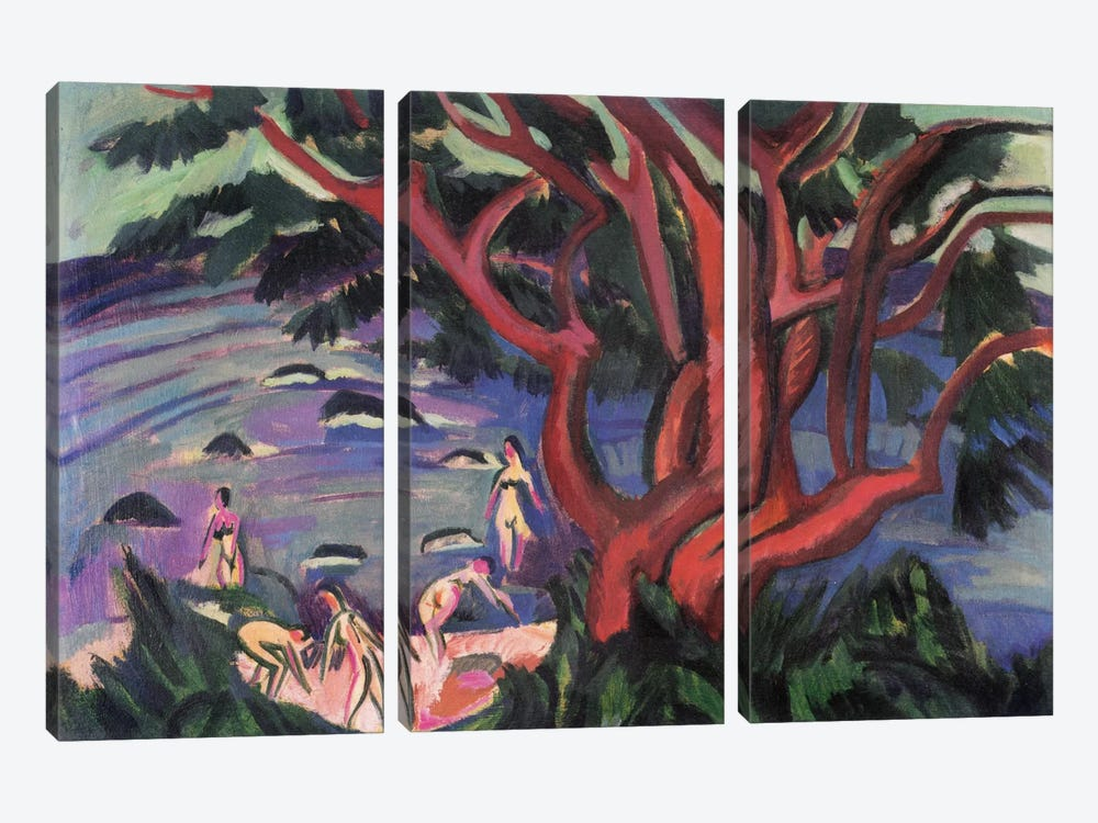 Red Tree on the Brach by Ernst Ludwig Kirchner 3-piece Canvas Wall Art