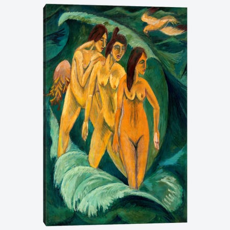 Three Bathers Canvas Print #15074} by Ernst Ludwig Kirchner Canvas Artwork