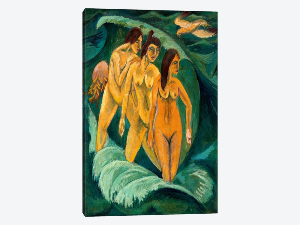 Three Bathers by Ernst Ludwig Kirchner 1-piece Canvas Art Print