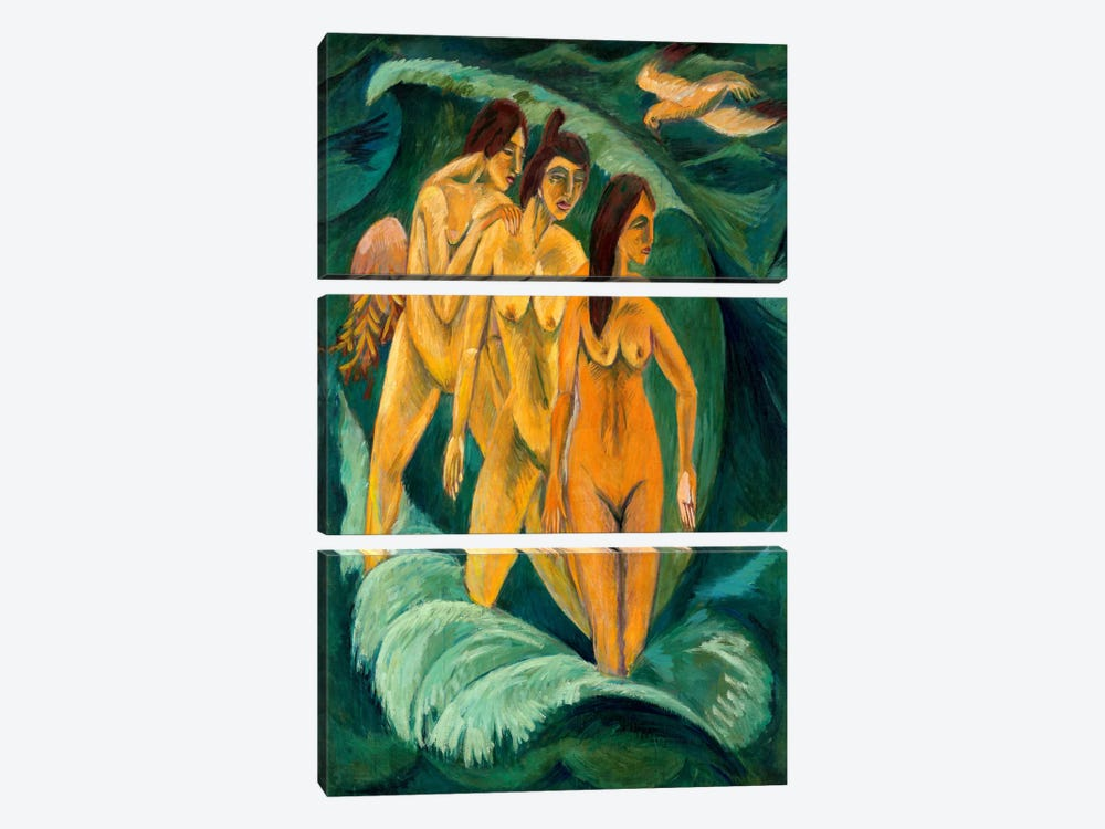 Three Bathers by Ernst Ludwig Kirchner 3-piece Canvas Art Print