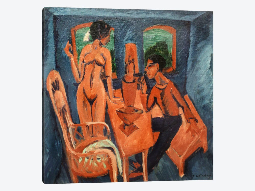 Tower Room - Self Portrait with Erna by Ernst Ludwig Kirchner 1-piece Canvas Artwork
