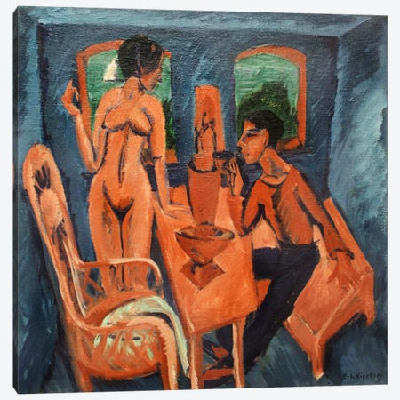 Tower Room - Self Portrait with Erna Canvas Print #15075} by Ernst Ludwig Kirchner Canvas Artwork