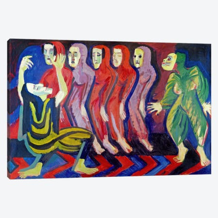 Totentanz der Mary Wigman (1926-1928) Canvas Print #15077} by Ernst Ludwig Kirchner Canvas Art