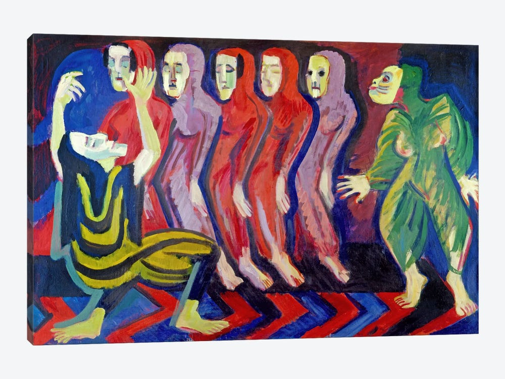 Totentanz der Mary Wigman (1926-1928) by Ernst Ludwig Kirchner 1-piece Canvas Wall Art
