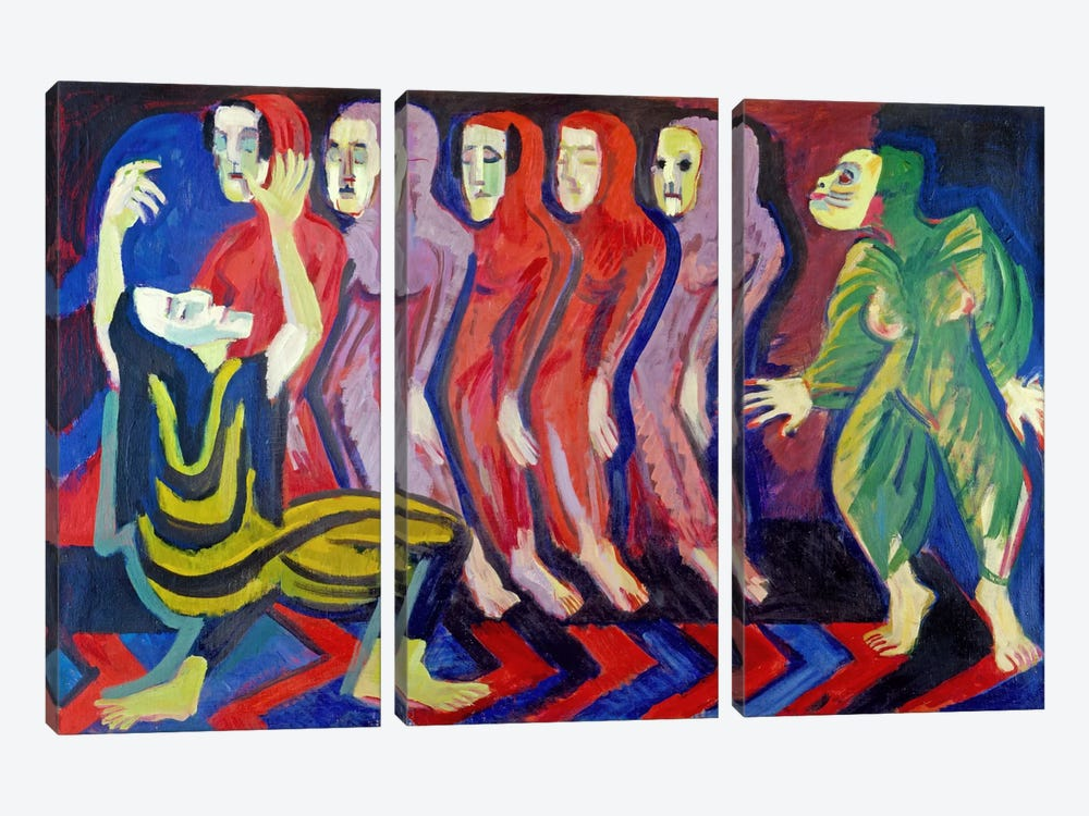 Totentanz der Mary Wigman (1926-1928) by Ernst Ludwig Kirchner 3-piece Canvas Wall Art