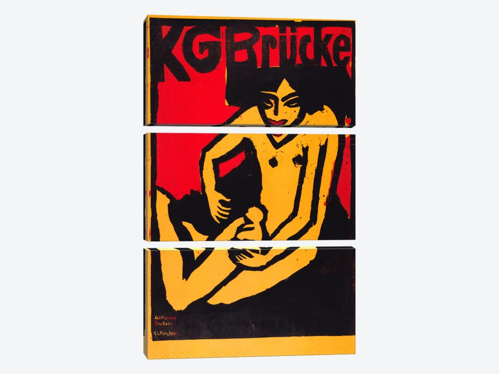 KG Bridge (Exhibition Poster) by Ernst Ludwig Kirchner 3-piece Canvas Print