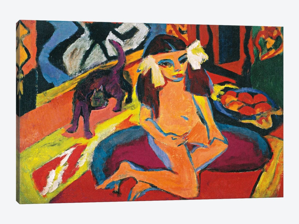 Girl with Cat by Ernst Ludwig Kirchner 1-piece Art Print