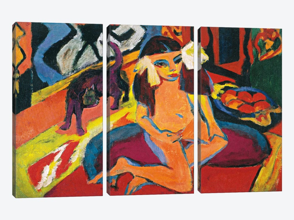 Girl with Cat by Ernst Ludwig Kirchner 3-piece Canvas Art Print