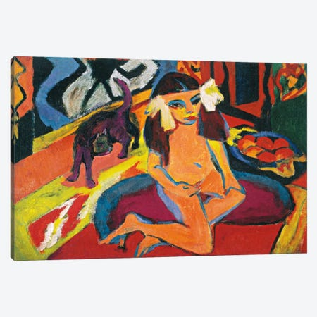 Girl with Cat Canvas Print #15081} by Ernst Ludwig Kirchner Canvas Art