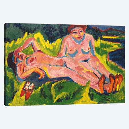 Two Pink Nudes on the Lake Canvas Print #15083} by Ernst Ludwig Kirchner Canvas Artwork