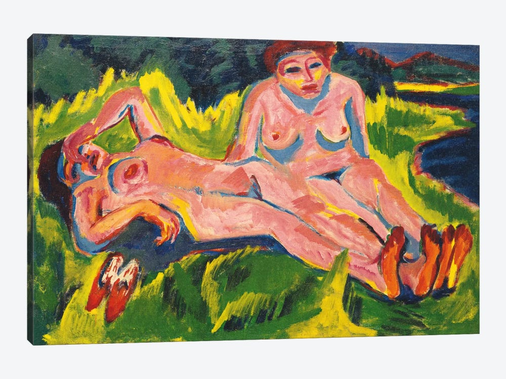Two Pink Nudes on the Lake by Ernst Ludwig Kirchner 1-piece Art Print