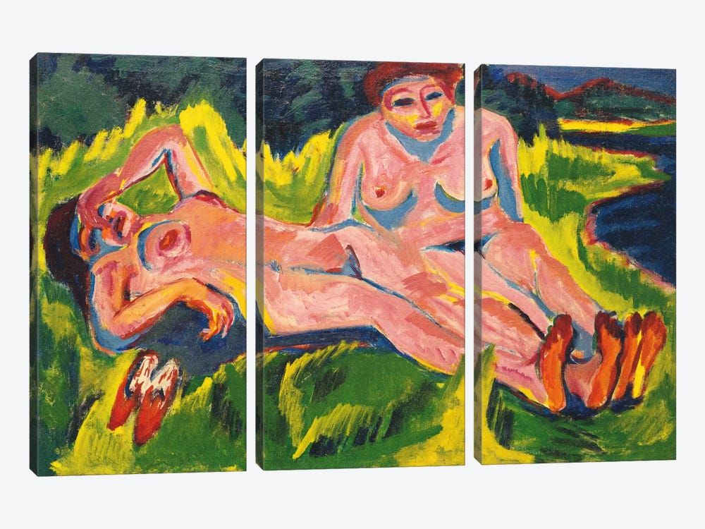 Two Pink Nudes on the Lake by Ernst Ludwig Kirchner 3-piece Canvas Print
