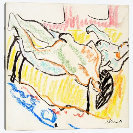 Amorous, Naked Couple Canvas Print #15086} by Ernst Ludwig Kirchner Canvas Print