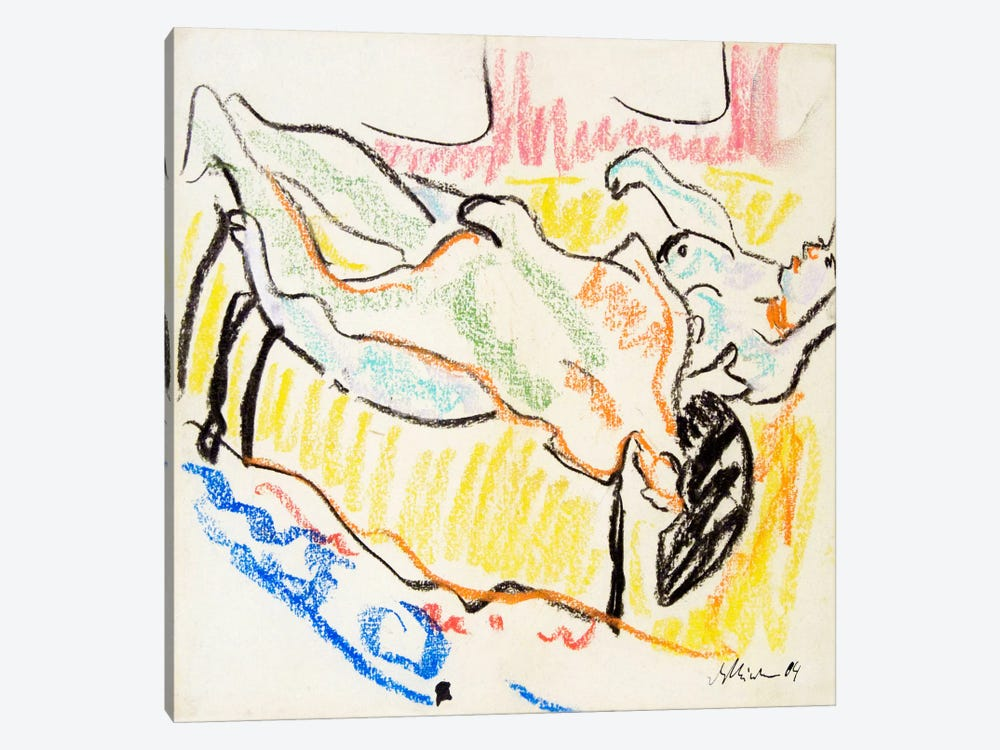 Amorous, Naked Couple by Ernst Ludwig Kirchner 1-piece Canvas Art
