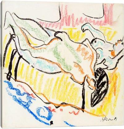 Amorous, Naked Couple Canvas Art Print