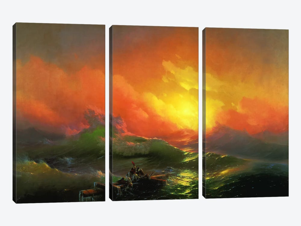 The Ninth Wave by Ivan Aivazovsky 3-piece Canvas Print
