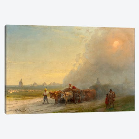 Ox-Carts in the Ukrainian Steppe Canvas Print #15090} by Ivan Aivazovsky Art Print