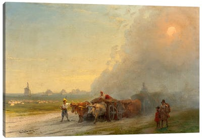 Ox-Carts in the Ukrainian Steppe Canvas Art Print