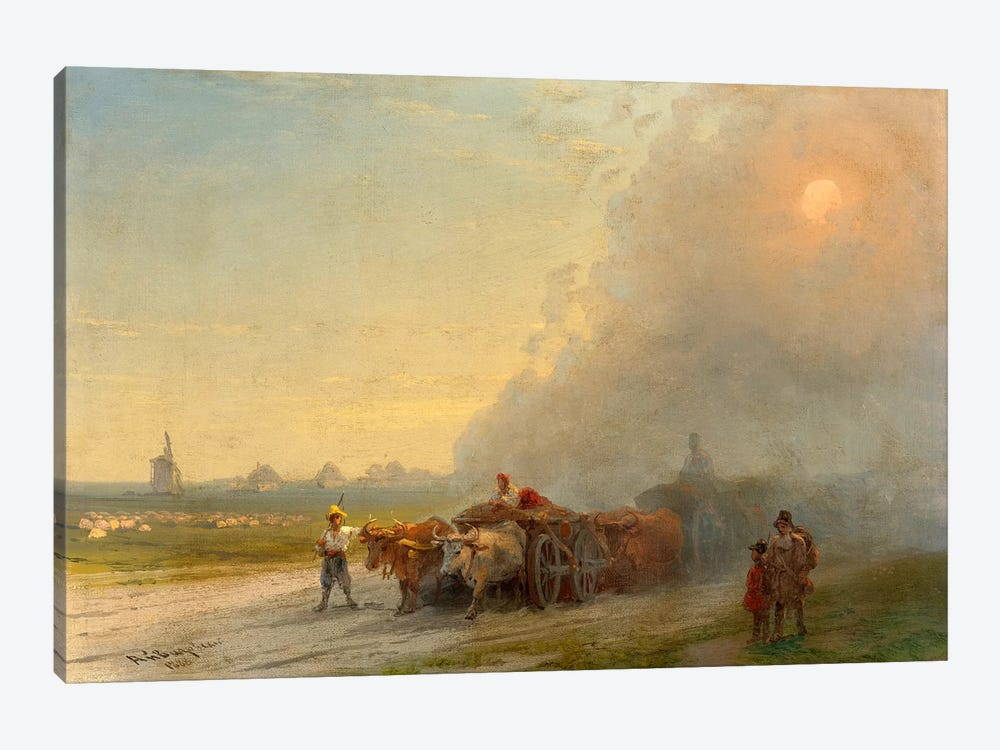 Ox-Carts in the Ukrainian Steppe by Ivan Aivazovsky 1-piece Canvas Print