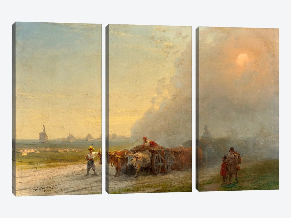 Ox-Carts in the Ukrainian Steppe by Ivan Aivazovsky 3-piece Canvas Art Print
