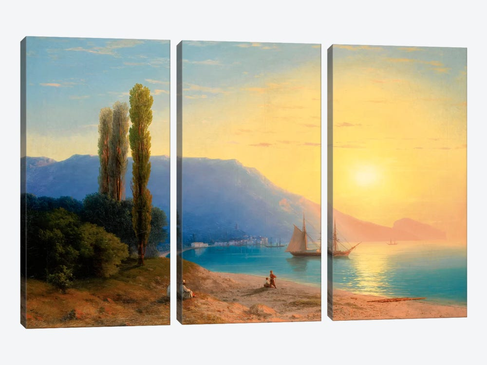 Sunset over Yalta by Ivan Aivazovsky 3-piece Canvas Art