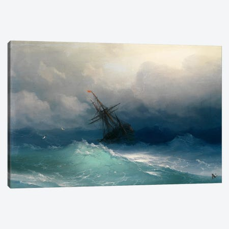 Ship on a Stormy Seas Canvas Print #15094} by Ivan Aivazovsky Canvas Wall Art