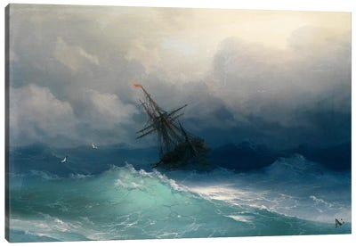 Ship on a Stormy Seas Canvas Art Print