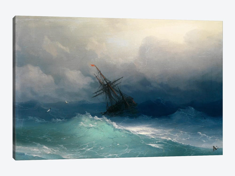 Ship on a Stormy Seas by Ivan Aivazovsky 1-piece Canvas Art Print