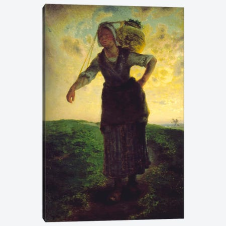A Norman Milkmaid at Greville Canvas Print #15097} by Jean-Francois Millet Canvas Wall Art