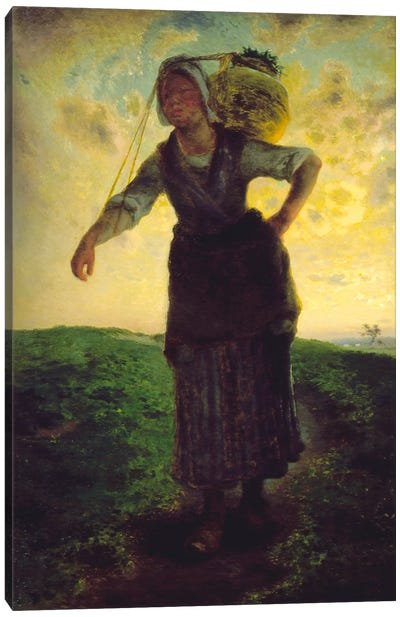 A Norman Milkmaid at Greville, 1871 Canvas Art Print