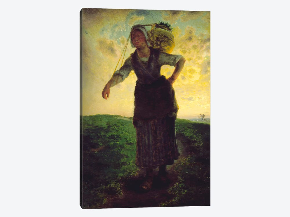 A Norman Milkmaid at Greville, 1871 by Jean-Francois Millet 1-piece Canvas Wall Art