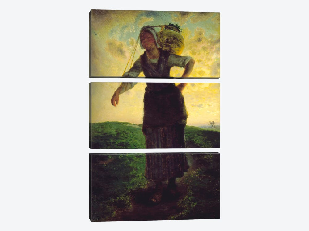 A Norman Milkmaid at Greville, 1871 by Jean-Francois Millet 3-piece Canvas Wall Art